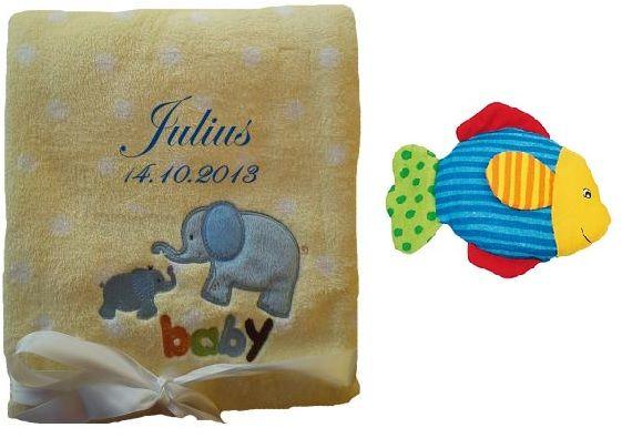 Babydecke gelb Elefant mit Namen inkl. Rassel