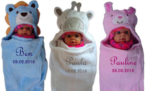 Baby - Einschlagdecke Löwe, Giraffe, Hase mit Namen