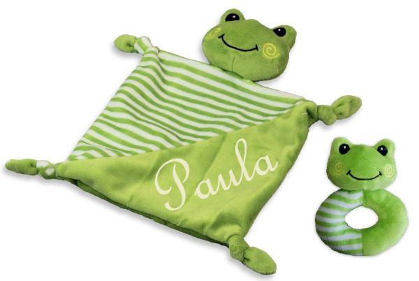 Baby Kuscheltuch grün Frosch mit Namen bestickt + Rassel