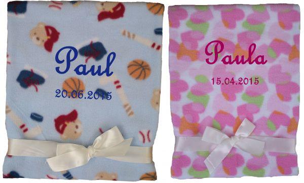 Schnullerkette Geschenk Baby Taufe Geburt Babydecke mit Namen bestickt rosa