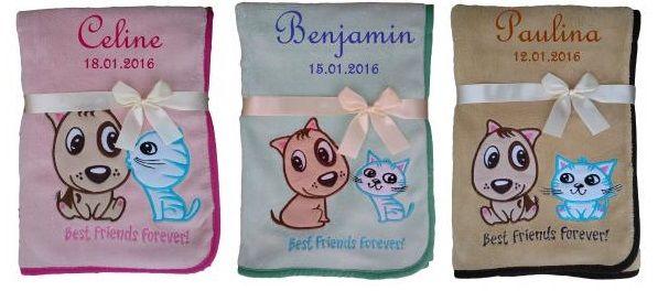 Babydecke Hund Katze mit Namen