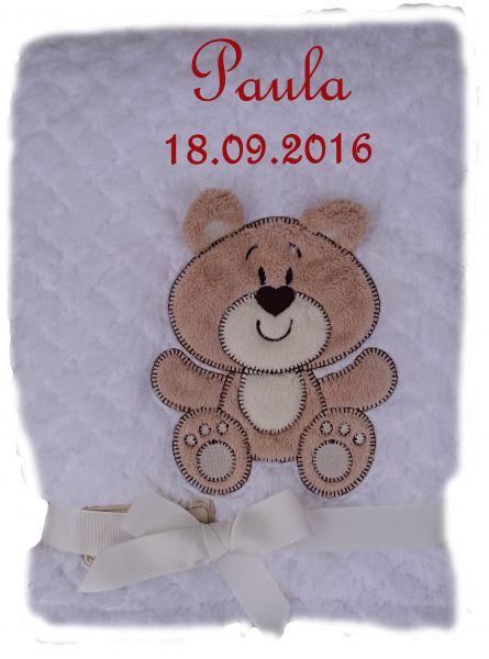 Babydecke flauschig weiß Bär mit Namen