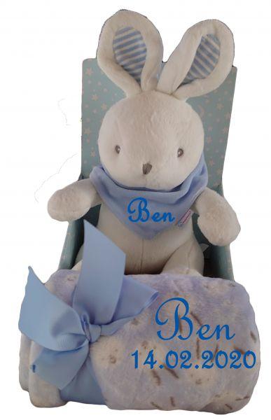 Baby Set 3teilig Hase blau/weiß