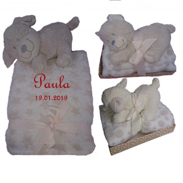 Baby Geschenkset aus Babydecke inkl. Stofftier