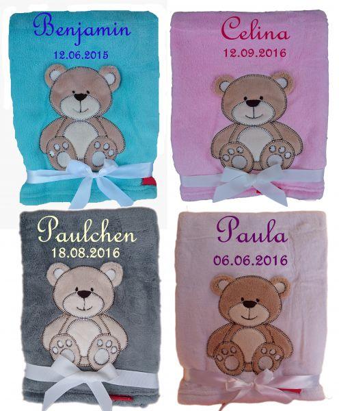 Babydecke Bär mit Namen - Farbwahl -
