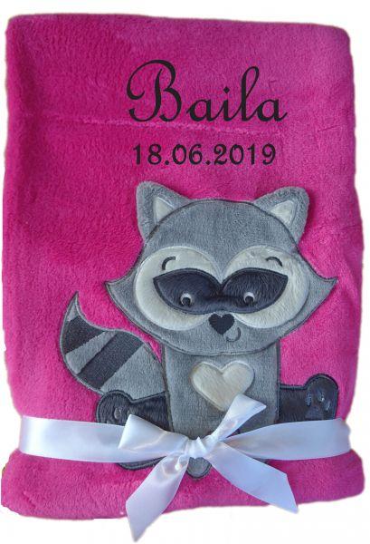 Babydecke pink Waschbär mit Namen