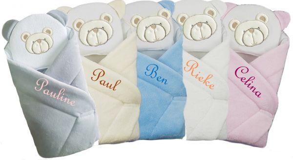Einschlagdecke , Babynest mit Namen inkl. Kissen