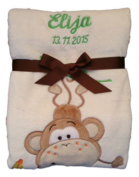Babydecke beige Affe mit Namen