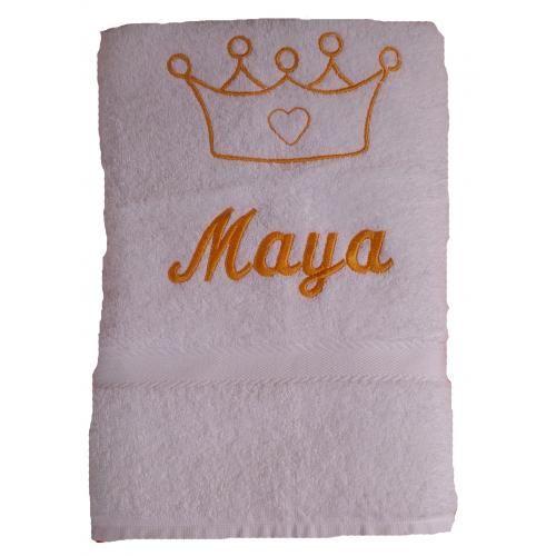 Handtuch mit Namen bestickt und Motiv Krone