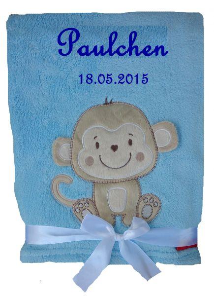 Babydecke Affe mit Namen