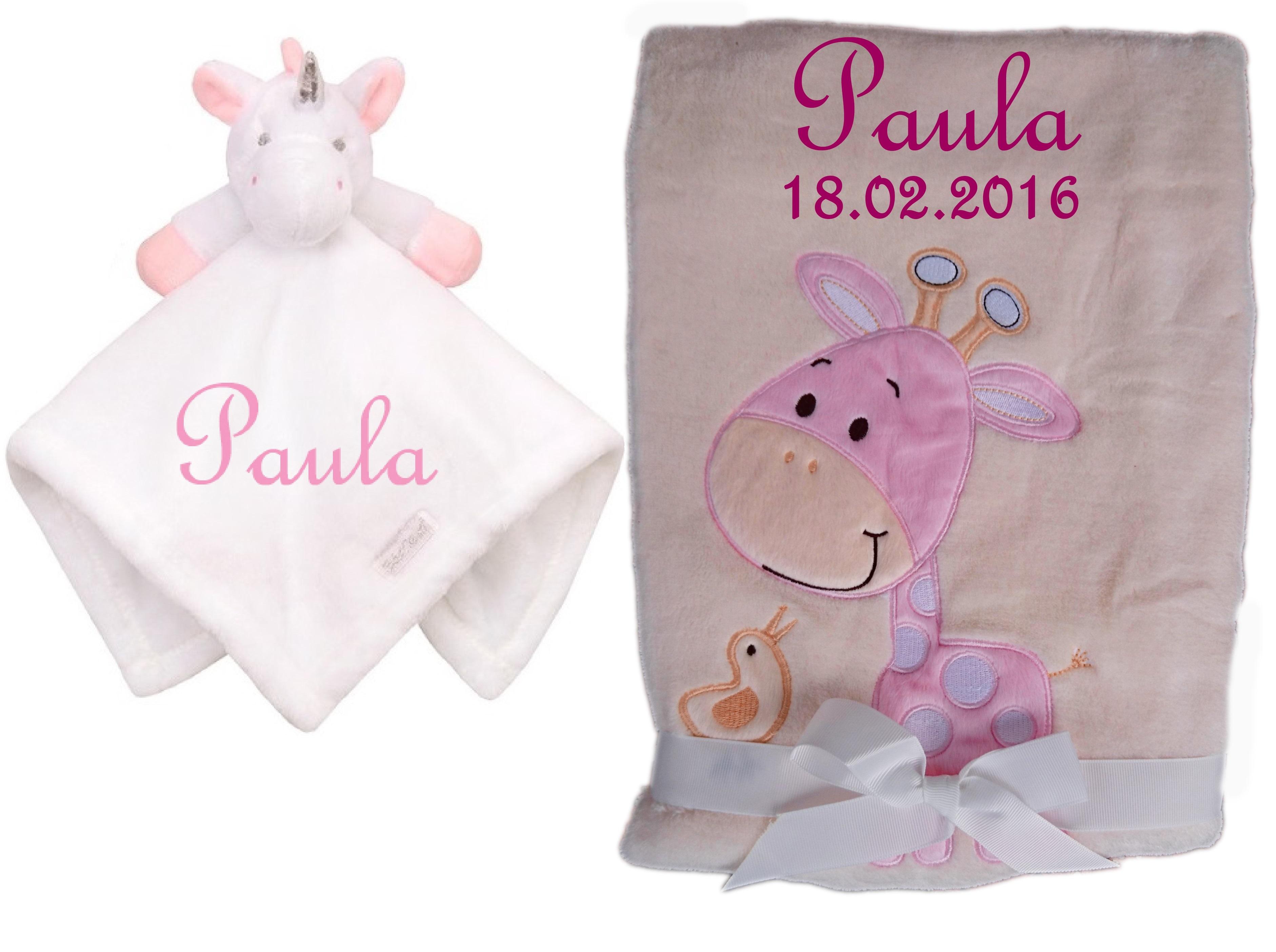Striefchen/® Kuschelkissen zur Geburt rosa Teddy - mit Namen und Geburtsdatum