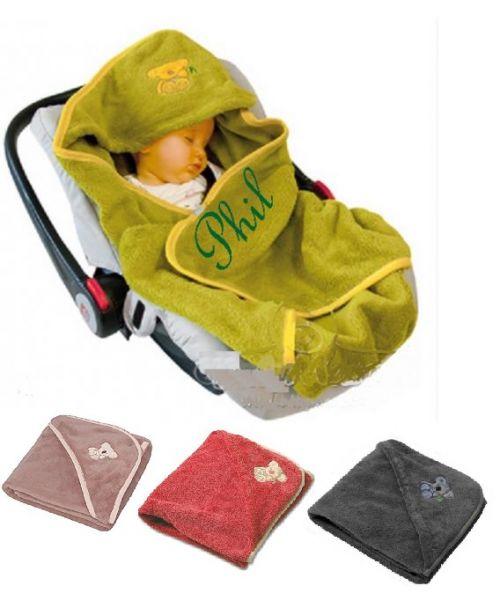 Auto-Einschlagdecke Baby mit Namen bestickt