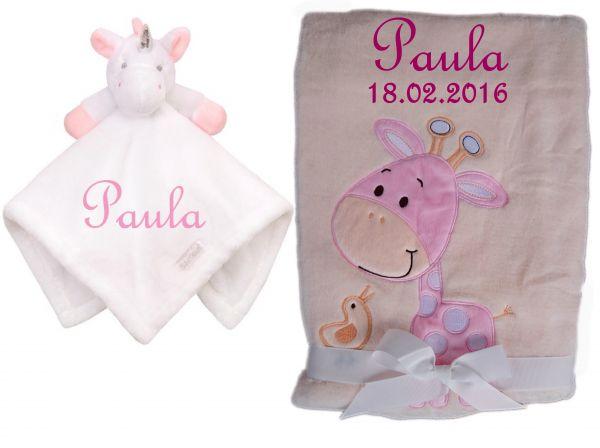 Set aus Babydecke Giraffe und Kuscheltuch Einhorn mit Namen bestickt rosa