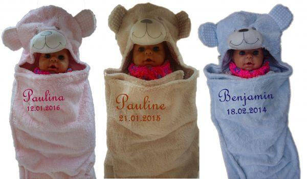 Baby Einschlagdecke Teddy mit Namen