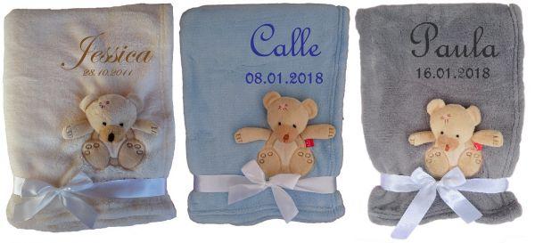 Babydecke 3d Teddy mit Namen