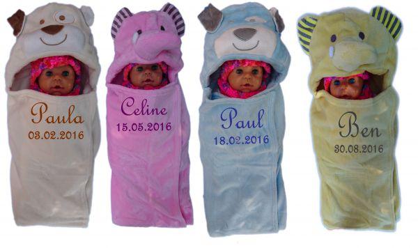 Baby - Einschlagdecke mit Namen und 3d Kapuze