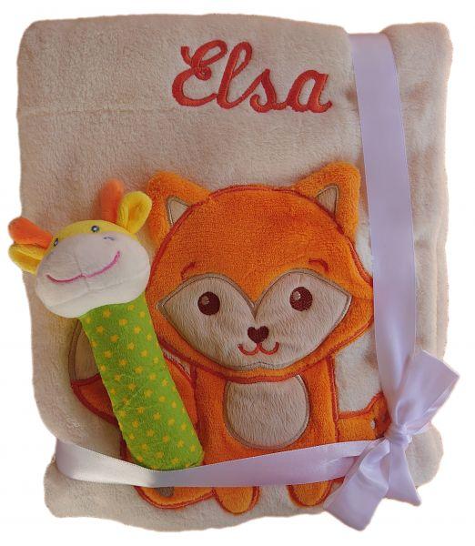 Babydecke beige Fuchs mit Namen bestickt + Baby Spielzeug Giraffe