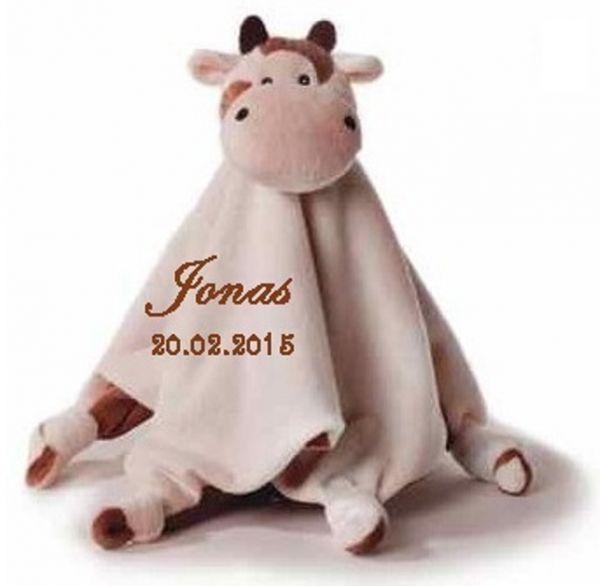 Baby Kuscheltuch Kuh mit Namen