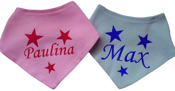 Baby / Kinder Halstuch mit Namen und Sternen bedruckt