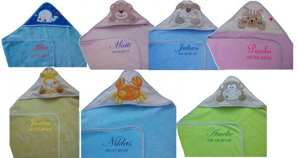 Baby-Kapuzentuch weich mit Namen - Farbwahl -