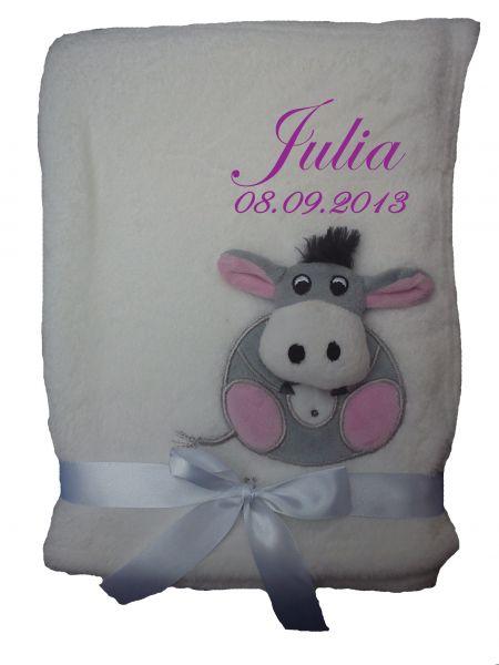 Babydecke 3d weiß Esel mit Namen