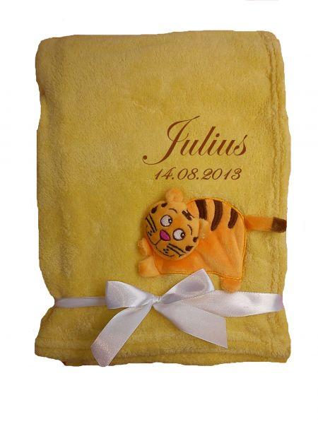 Babydecke 3d gelb Tiger mit Namen