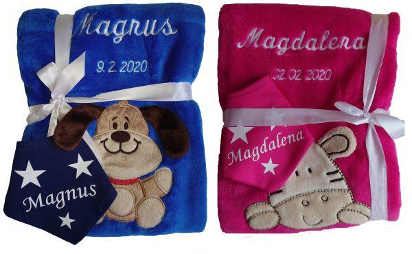 Babydecke mit Namen bestickt + Halstuch personalisiert