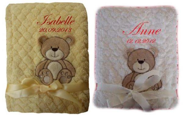 Babydecke zweilagig Bär mit Namen