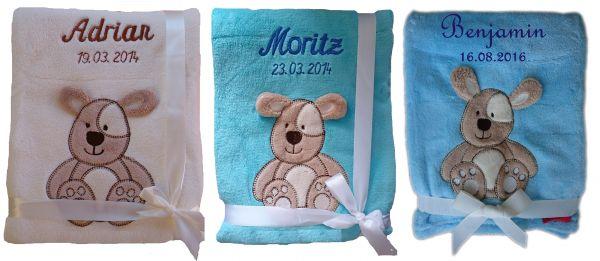 3d Rassel Babysocken Geschenk Baby Taufe Geburt Babydecke  mit Namen bestickt