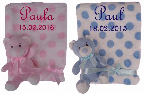 Set aus Babydecke mit Namen bestickt inkl. Rassel Teddy