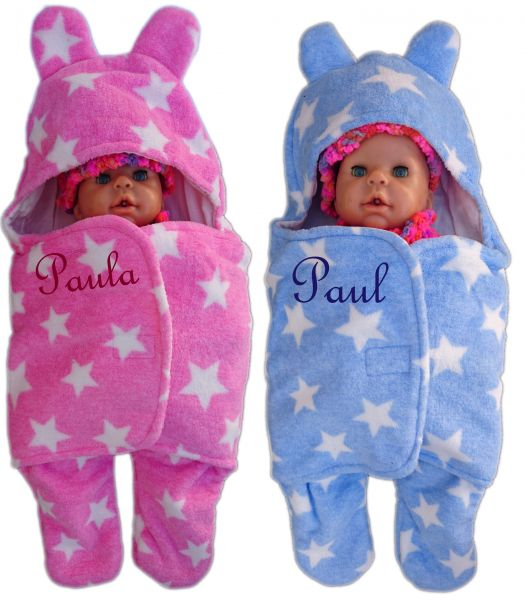 Baby - Einschlagdecke Sterne mit Namen