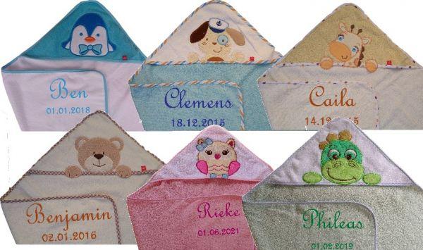 Baby Kapuzentuch 75 cm mit Namen - Farbwahl -