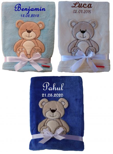 Babydecke Teddy mit Namen-Farbwahl