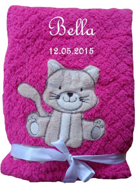 Babydecke flauschig pink Katze mit Namen