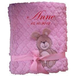 Babydecke zweilagig rosa Hase mit Namen