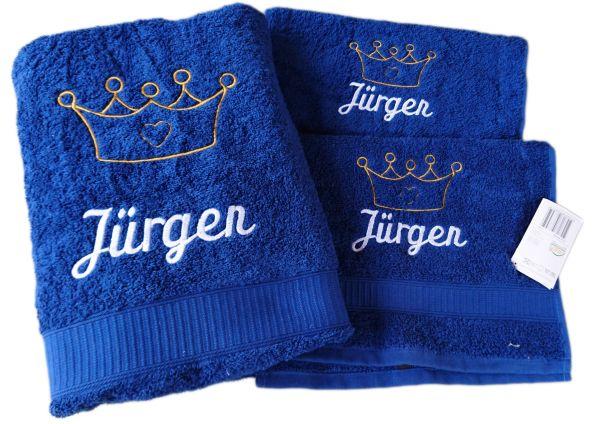 Geschenkset 3 teilig mit Namen und Motiv Krone - Farbwahl -