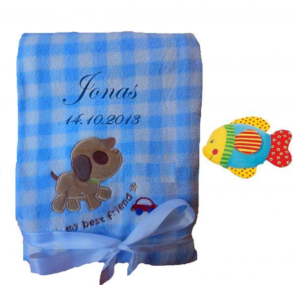 Babydecke blau Hund mit Namen inkl. Rassel