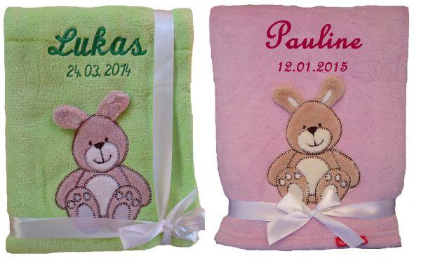 Babydecke Hase mit Namen - Farbwahl -