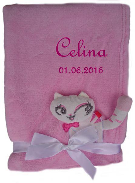 Babydecke 3d rosa Katze mit Namen