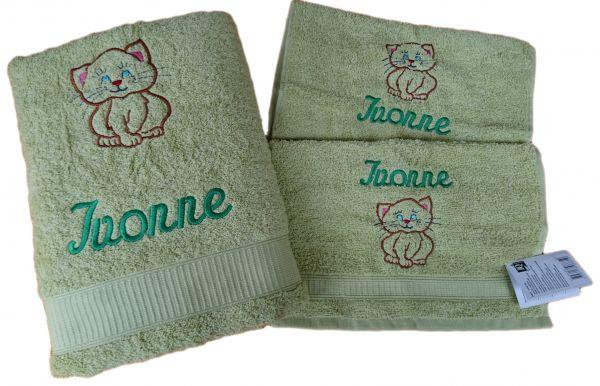 Geschenkset 3 teilig Katze mit Namen bestickt - Farbwahl -