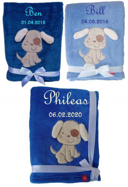 Babydecke Hund 1 mit Namen -Farbwahl-