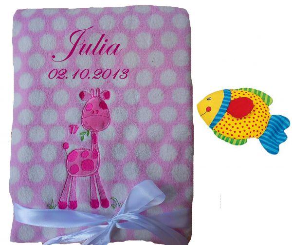 Babydecke rosa Giraffe mit Namen inkl. Rassel