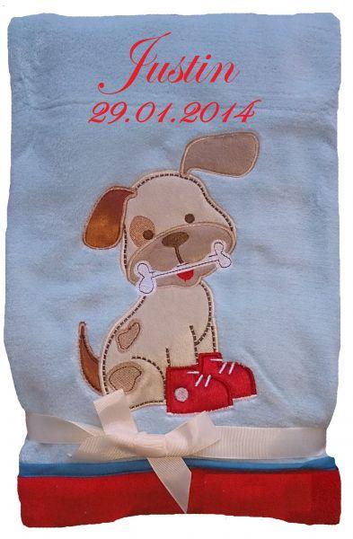 Babydecke blau-rot Hund mit Namen