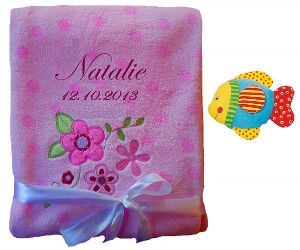 Babydecke rosa Blumen mit Namen inkl. Rassel