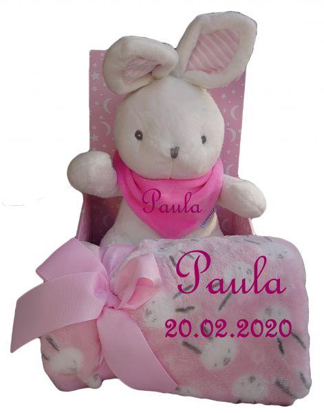 Baby Set 3teilig Hase rosa/weiß